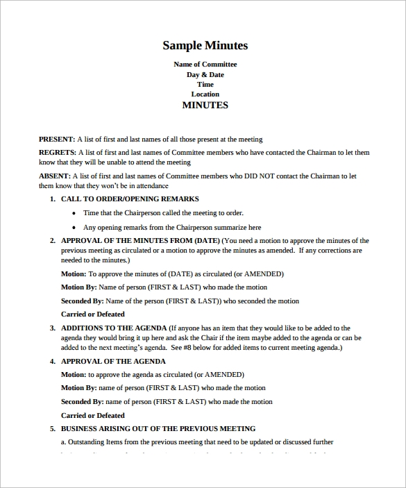 sample meeting minutes free pdf template download