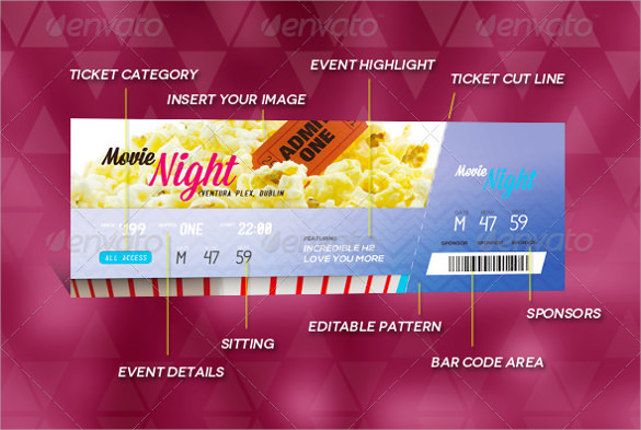 Free 44 Printable Ticket Templates In Ai Indesign Ms Word Pages Psd Publisher