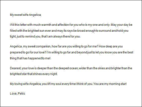 romantic letter to wife