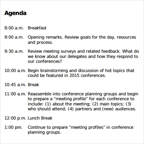 Agenda Planner Template Download