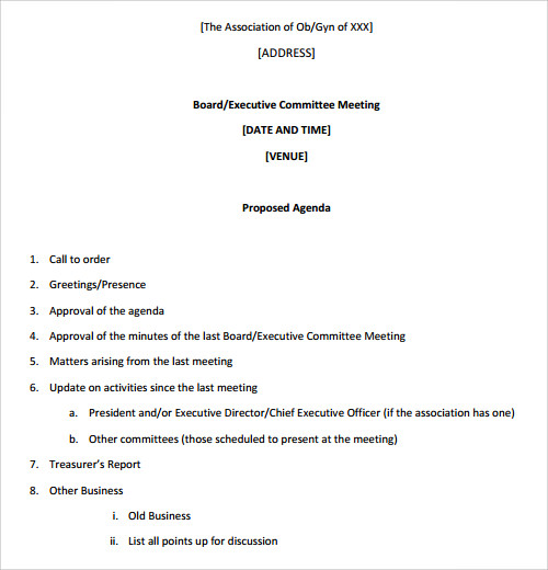 Doc529684 Template for Agenda for a Meeting Free Meeting – Templates for Agendas