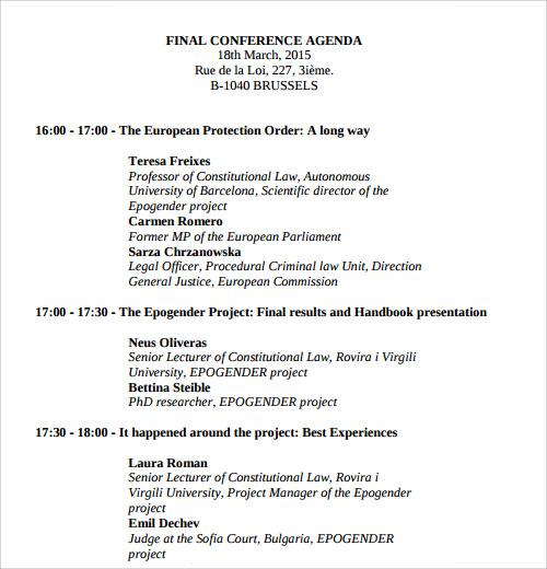 sample agenda template