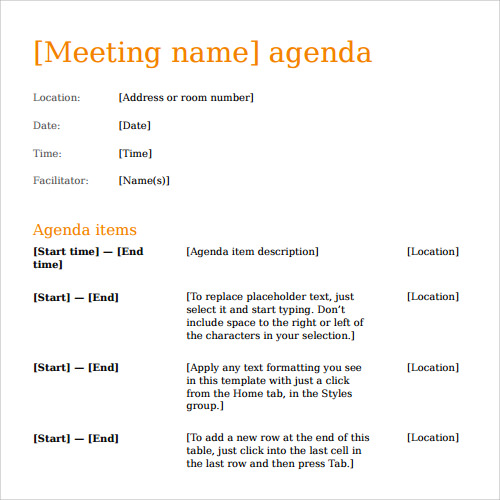 Printable Business Meeting Agenda Template  Microsoft Word Meeting Agenda Template