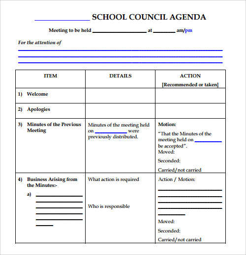 Sample Agenda Template - 41+ Download Free Documents In Pdf , Word