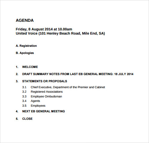 Sample Agenda Template 41 Download Free Documents in PDF Word – Template for Agenda