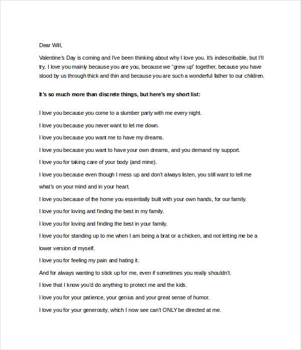 best love letter template to my husband
