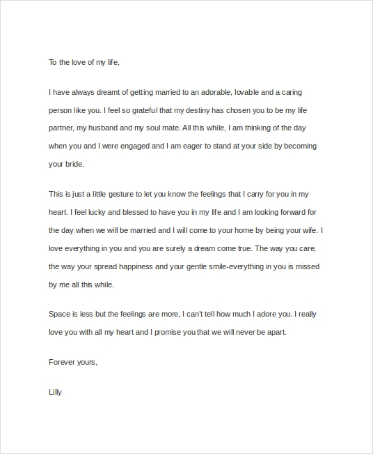 Beautiful Love Letter to Fiance