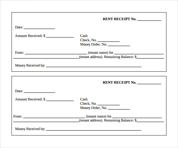 Doc480623 Rental Receipt Template Rent Receipt Template for – House Rent Slips