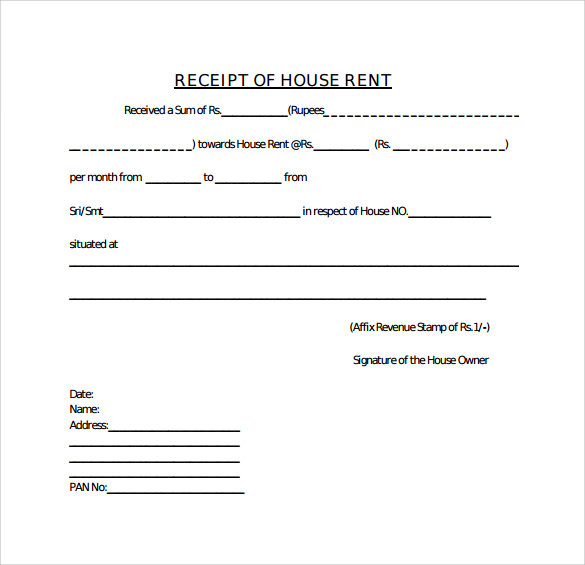 House Rent Receipt Template - Receipt template word document