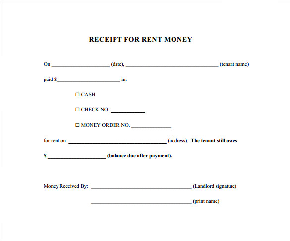 Lease Receipt Template
