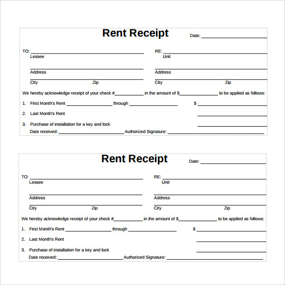 Sample Rent Receipt Template 13 Download Free Documents in PDF – Rental Receipts Templates