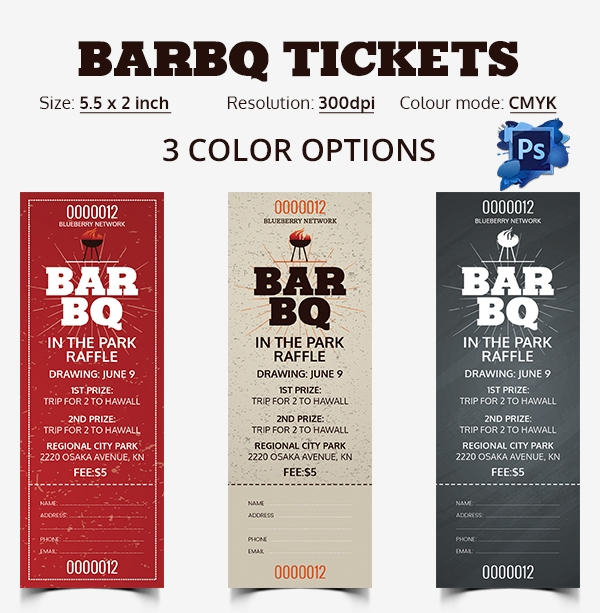 Ticket template 23 download documents in pdf psd for Bbq tickets template