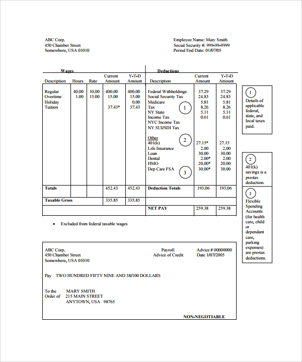 Sample Pay Stub Template 24 Download Free Documents in PDF – Free Payroll Stub Template