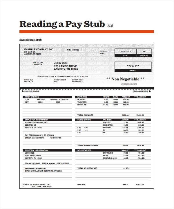 Sample Pay Stub Template   Download Free Documents In Pdf