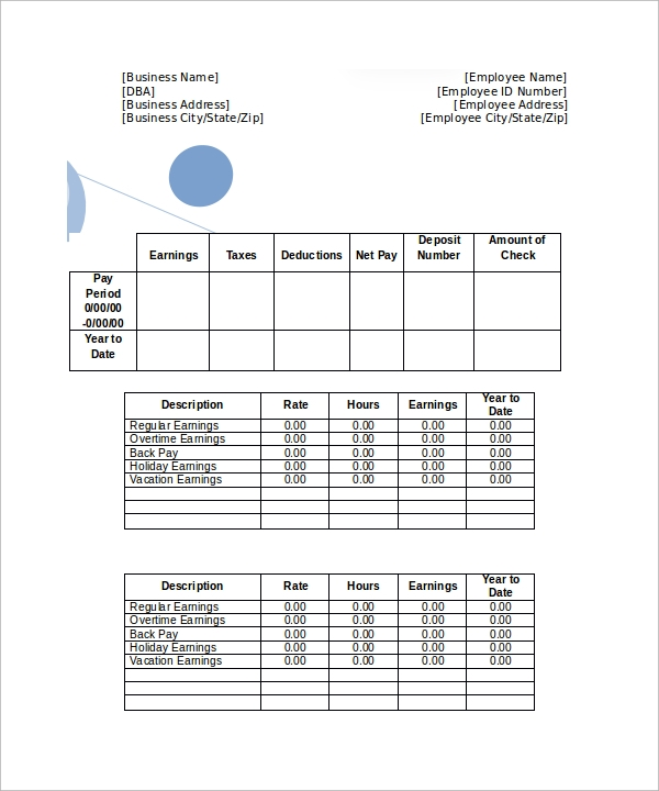 Sample Pay Stub Template 24 Download Free Documents in PDF – Free Check Stub Template