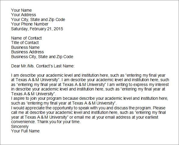 academic letter of intent template