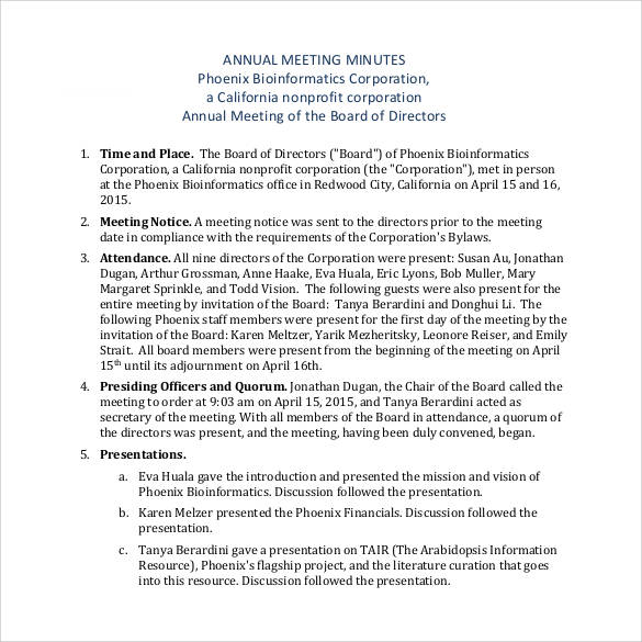 corporation annual meeting minutes template - 42 free sample meeting minutes templates sample templates