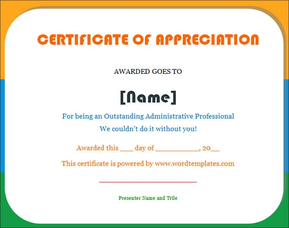 Doc16001228 Examples of Certificates of Recognition – Sample Wording for Certificate of Appreciation