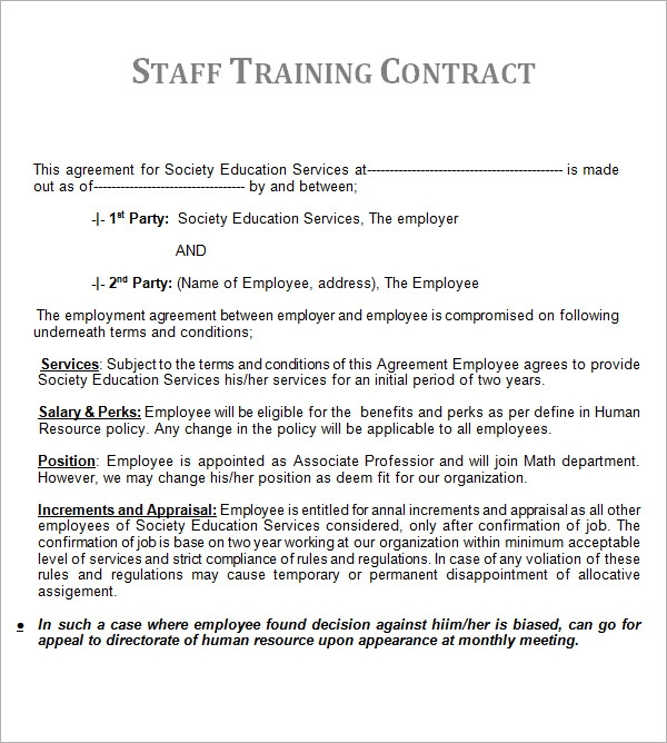 Basic Contract Template  Employee Training Contract Sample