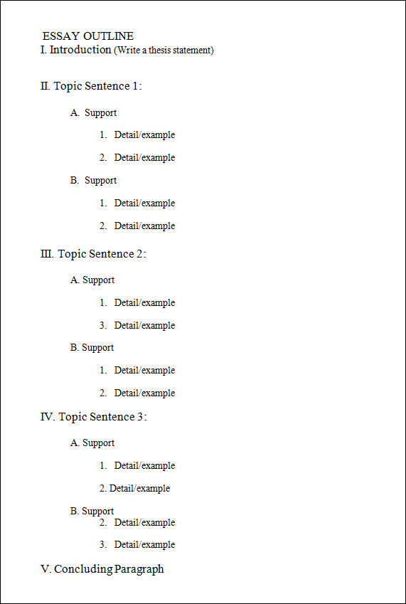 blank research paper outline template