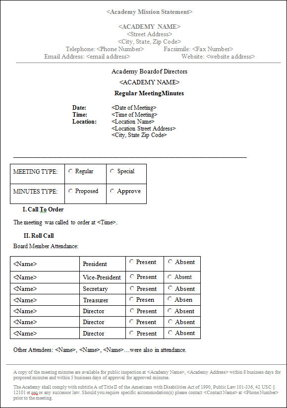 templates for board meeting minutes