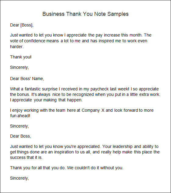 Sample Thank You Note   Documents In Word