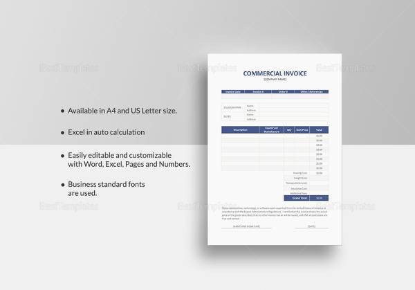 commercial invoice template3