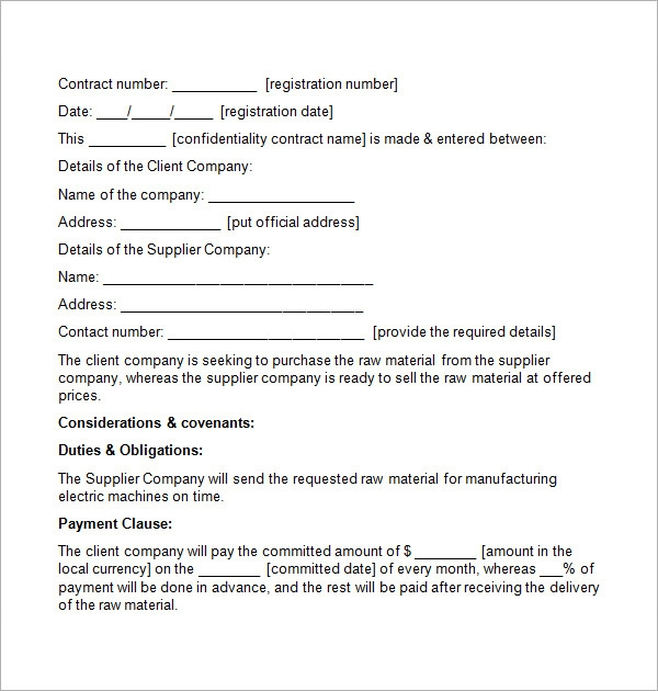 confidentiality contract template1