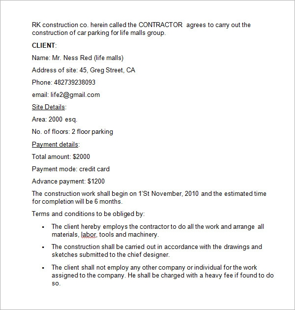 construction contract template .