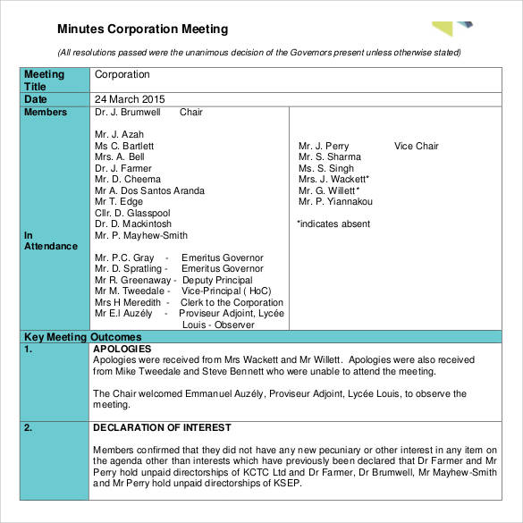 corporation meeting minutes