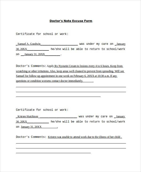 doctors note excuse form sample