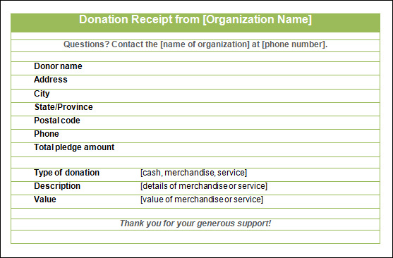 printable donation receipt template .