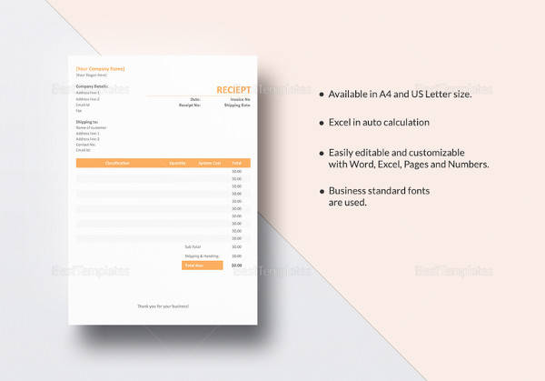 editable contractor receipt template