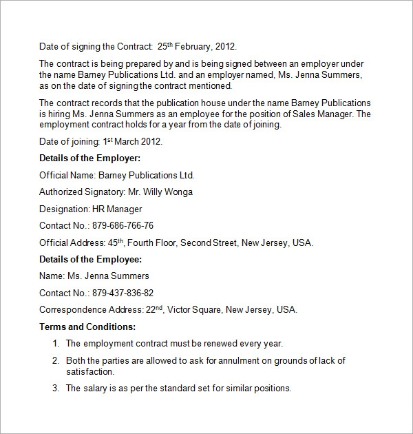 employment contract sample template1