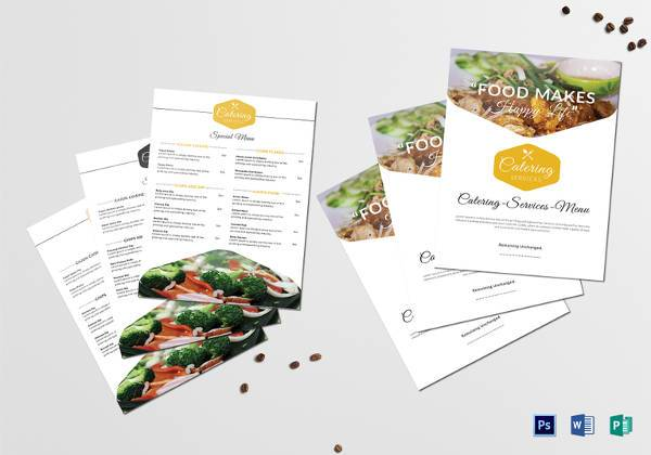 food catering service menu template