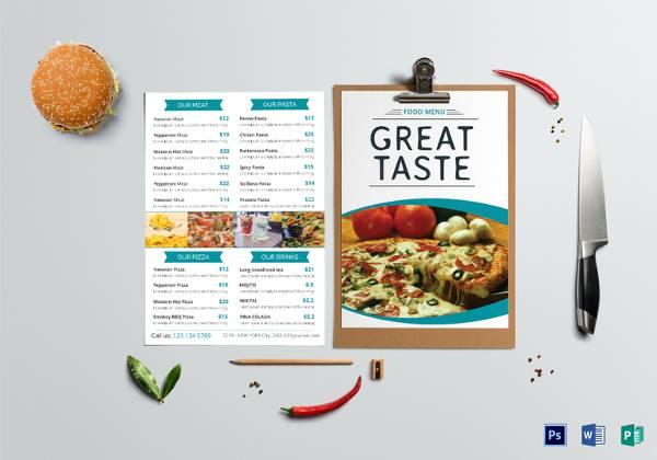free food menu templates
