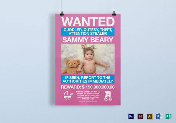 funny kids wanted poster template in word