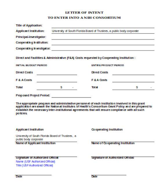 general letter of intent