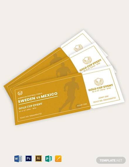 golden event ticket template