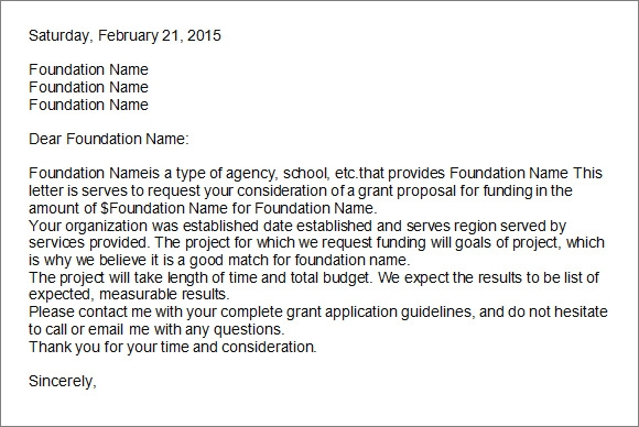 grant application letter of intent