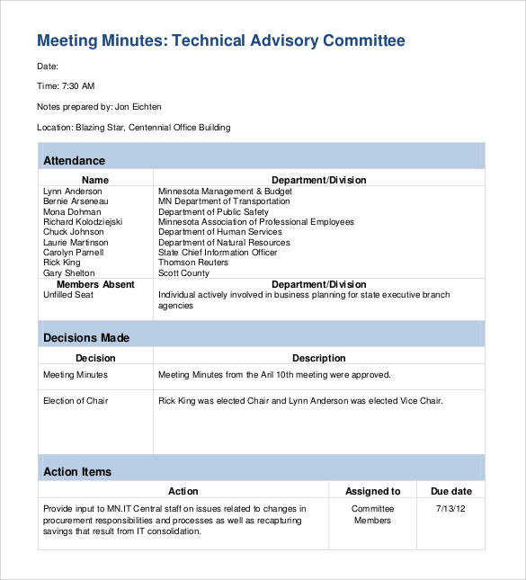 it meeting minutes template