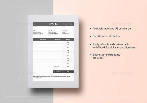 invoice example in word