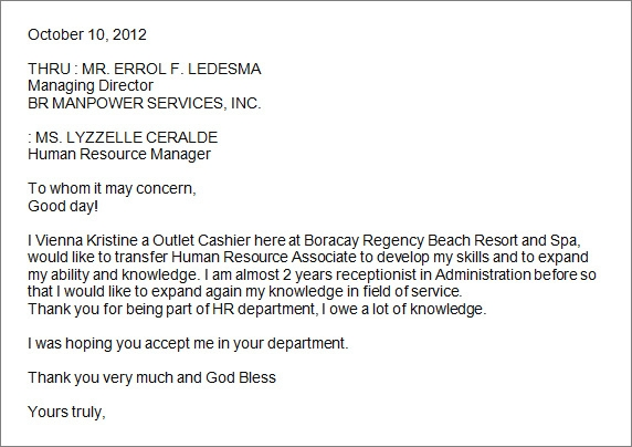 Letter of intent for a job transfer