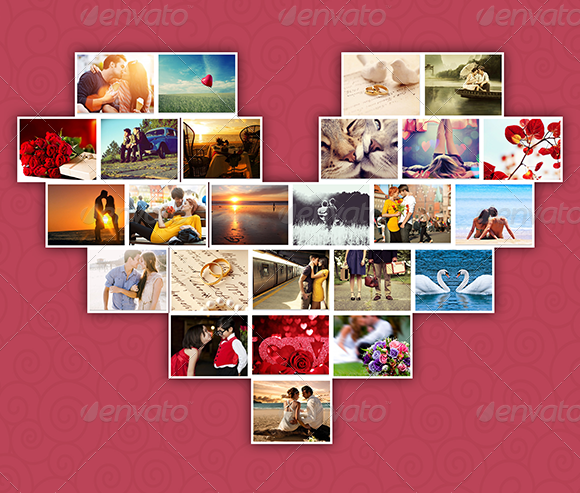 lovely heart photo template