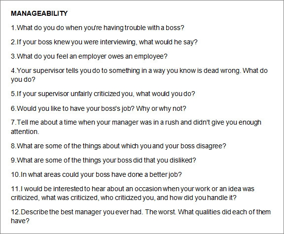 Job Interview Questions Weaknesses