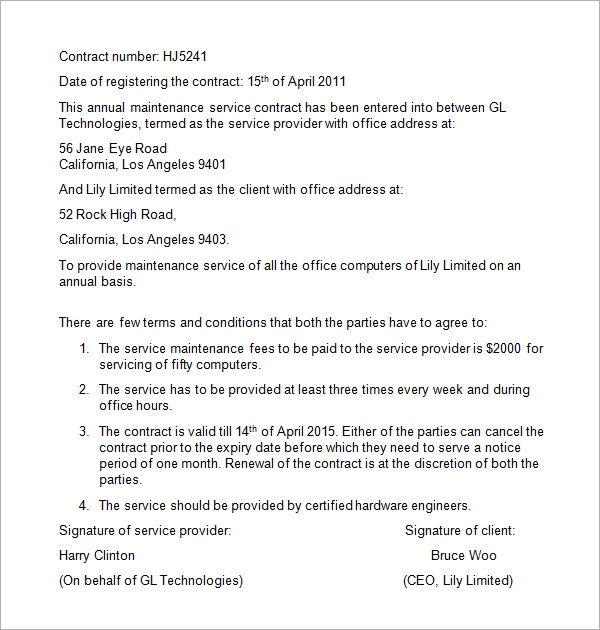 maintenance contract template1