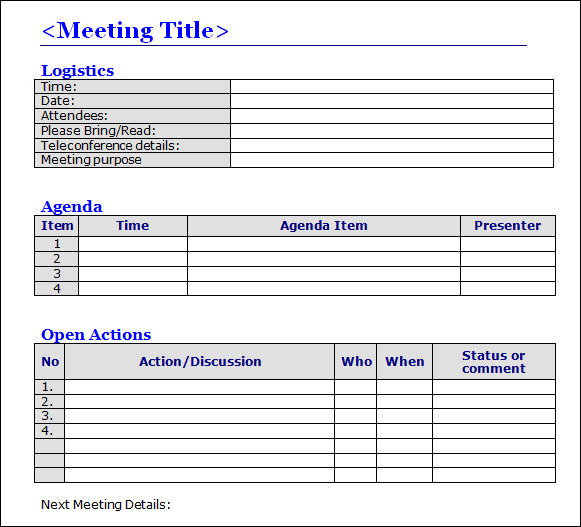 meeting minutes action items template