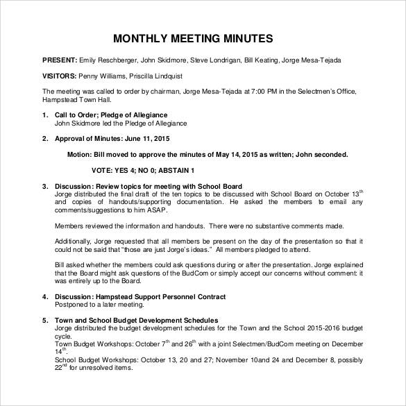 monthly meeting minutes