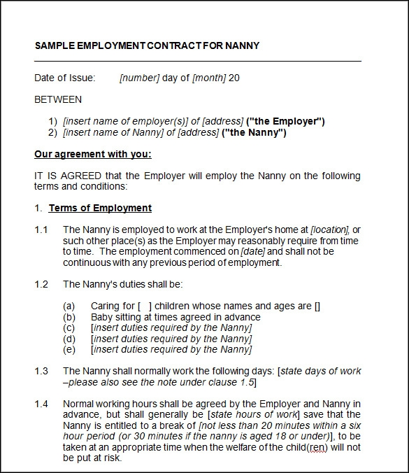 Nanny Sample Contract 27.05.2017
