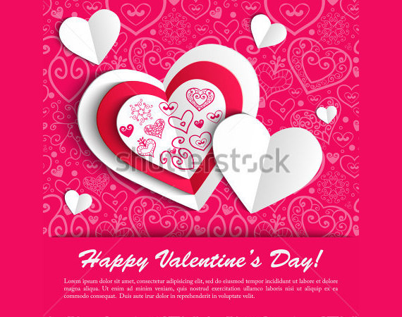 paper hearts valentine day card
